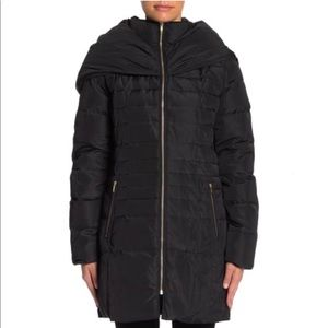 Cole Haan Shawl Collar Taffeta Down Coat